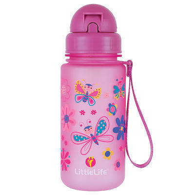 Littlelife water bottle 400 ml butterflies, RŮŽOVÁ - 1